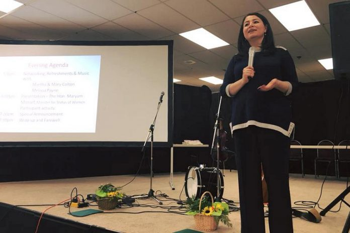 Peterborough-Kawartha MP and federal  Minister of Status of Women Maryam Monsef announced a new award for local women at the inaugural Rural Women's Summit held on March 2, 2018. (Photo: Maryam Monsef / Facebook)
