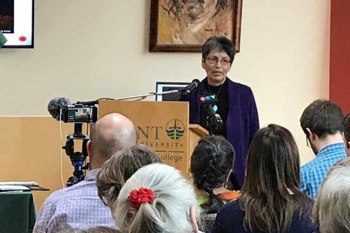 Chanie Wenjack's sister Pearl Achneepineskum, speaking at the official launch of  the Chanie Wenjack School for Indigenous Studies. (Photo: Trent University)