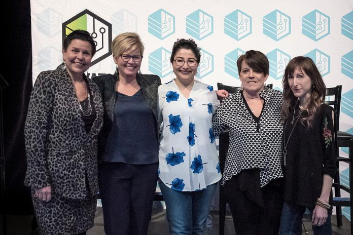 """After being introduced by Minister of Status of Women Maryam Monsef (centre), four female entrepreneurs participated in a panel discussion at FastStart Peterborough's E-Connect event om March 5, 2018: kawarthaNOW.com co-founder and publisher Jeannine Taylor, Steelworks Design co-founder Rhonda Barnet, """"serial entrepreneur"""" Peggy Shaughnessy, and Amusé Coffee founder Lindsay Brock. (Photo: Samantha Moss / MossWorks Photography)"""