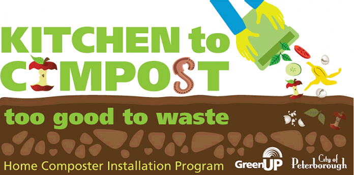 "Curbside organics collection will collect curbside kitchen waste for residents beginning in fall 2019. In the interim, GreenUP is rolling out a new at-home compost installation program  in partnership with the City of Peterborough. The ""Kitchen to Compost: Too good to waste"" program will begin in May 2018."