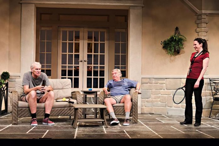 """Jonas and Barry in the Home"" made its debut in 2015 at Theatre Orangeville, where David Nairn (who portrays Barry) is artistic director. Along with  Foster and Nairn, Erin MacKinnon stars as Rosie.  (Photo: Drayton Entertainment)"