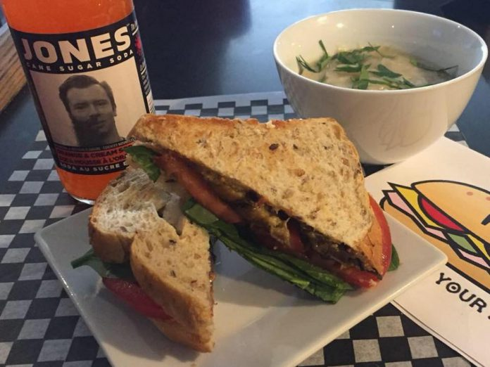 An ELT: Eggplant, lettuce and tomato made with smokey maple eggplant and served with a baked potato soup. Benji's Buns uses products from independent producers whenever possible. (Photo: Benji's Buns)