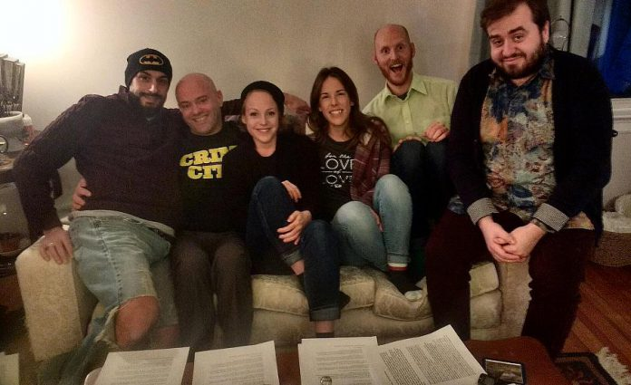 While reviewing material for their debut performance at The Theatre On King on March 31, 2018, the six members of LLAADS stress-test a couch: Luke Foster, Dan Smith, Sarah McNeilly, Lindsay Unterlander, Adam Wilkinson, and Adam Martignetti. (Photo: Sam Tweedle / kawarthaNOW.com)