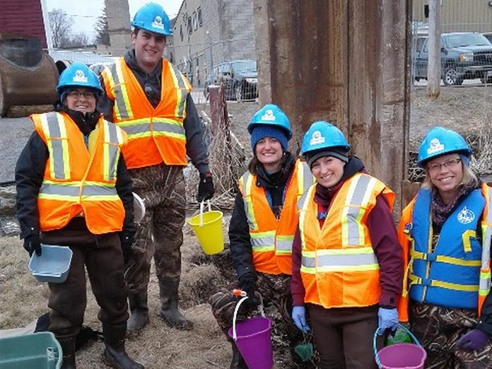 From left to right: Watershed Biologist Erin McGauley, Volunteer Dave Wood, Watershed Management Program Manager Meredith Carter, Planning Ecologist Jasmine Gibson, and Risk Management Official/Inspector Terri Cox with Otonabee Conservation. (Photo courtesy of  Otonabee Conservation)
