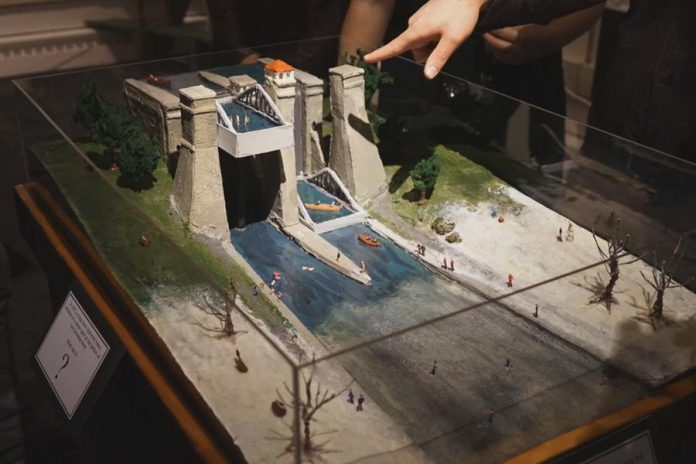 """Students in last year's Museum Management and Curatorship program created an exisit called """"Ebb and Flow: The Stories of a River City"""", which included this scale model of the Peterborough Lift Lock. (Photo: Jeff Chewka / Granite Point Productions)"""