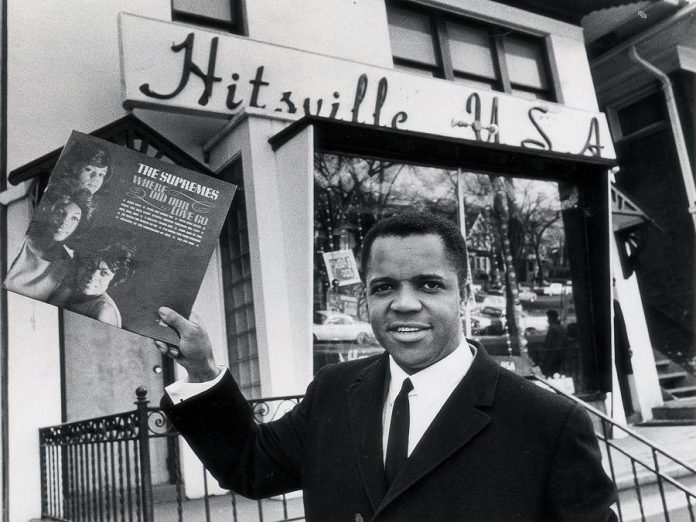 Berry Gordy Jr., founder of Motown Records, in front of Motown's Hitsville U.S.A. studio in Detroit in 1964. (Publicity photo)