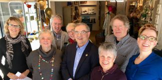 Championed by Bill Lockington (front centre) and administered by Electric City Culture Council through Executive Director Sue Ditta (second from left), the inaugural Peterborough Arts Awards will be presented to six individuals who have shown outstanding achievement in the arts. Also pictured, from left to right, are sponsors Shelley Barrie of Merit II Realty Limited, Paul Hickey of BrandHealth, Kate Ramsay (behind Bill Lockington), and Betty Morris of The Stewart Group, along with Bill Kimball of Public Energy and writer and performer Kate Story. Not pictured: sponsor Paul Bennett of Ashburnam Realty. (Photo: Tammy Thorne / kawarthaNOW.com)