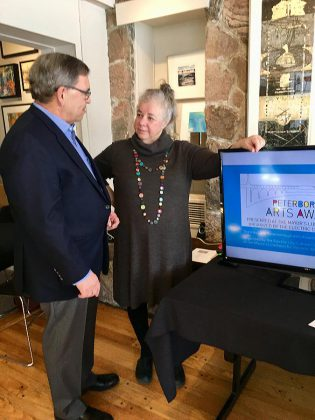 Bill Lockington of LLF Lawyers with EC3 executive director Sue Ditta at the announcement of the inaugural Peterborough Arts Awards, held March 15, 2018 at Art Gallery of Peterborough. (Photo: Tammy Thorne / kawarthaNOW.com)
