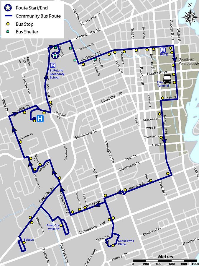 Peterborough Transit Map Peterborough Community Bus starts up on Sunday   kawarthaNOW