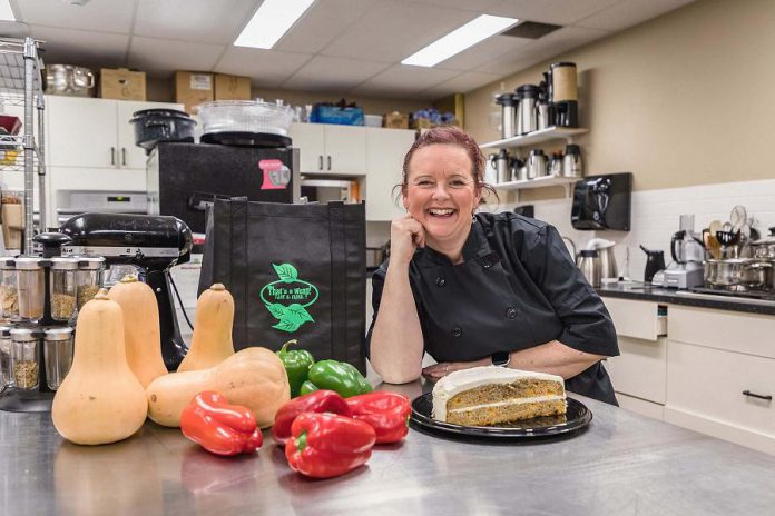 "Each woman nominated for the project has to submit a bio and choose three words that describe who they are and what they do in their communities.  ""Vibrant, Courageous, Kind"" are the three words that describe Tracey Ormond, owner of That's A Wrap Catering in Peterborough. (Photo: Heather Doughty)"