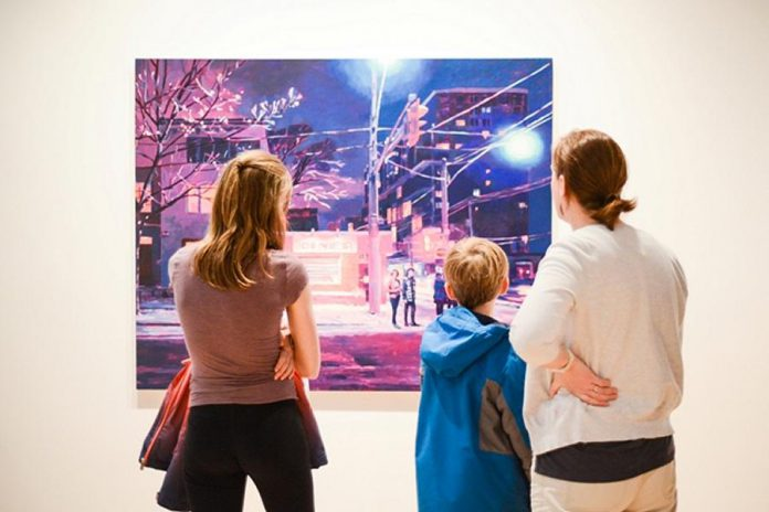Visitors to the Art Gallery of Peterborough looking at a painting by Keita Morimoto at the opening of the 'These things I Have Seen' exhibition, one of three exhibits on now at the gallery until June 24th. (Photo: Karol Orzechowski / Decipher Images)