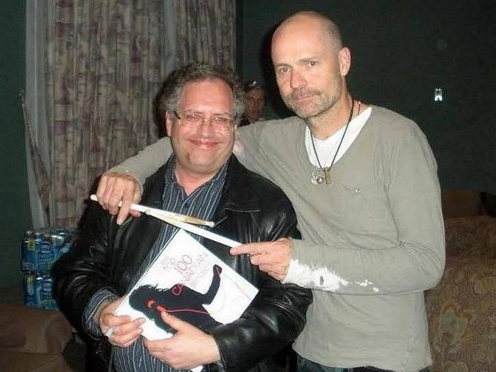 "Veteran Canadian broadcaster, author, and music critic Bob Mersereau, shown here with the late Gord Downie several years ago, has praised ""The Lost Album"", the debut album of original material by Peterborough musicians Rick and Gailie Young. (Photo: Bob Mersereau / Facebook)"