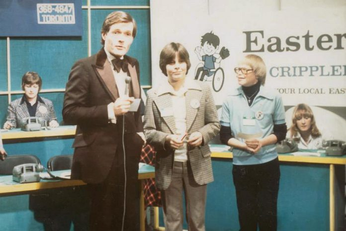 Graham Hart hosting the Easter Seals Telethon in the early 1980s. (Photo: CHEX Television)