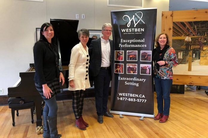 Northumberland—Peterborough South MP Kim Rudd (right) announced $100,000 for Westben Arts Festival Theatre in Campbellford. Also pictured is Westben business manager Rebecca Baptista, board vice-chair/secretary Catherine Warrener, and artistic director Brian Finley. (Photo: Office of Kim Rudd)