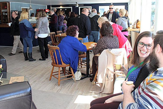 Some of the many people who attended the grand opening of Lock Stop Cafe at 1919 Lakehurst Road in Buckhorn on April 21, 2018. The cafe and restaurant is owned and operated by entrepreneur Kelli Coon, who also runs Coon's Cottage Care and Ship Shape Service in Buckhorn. (Photo: Lock Stop Café / Facebook)