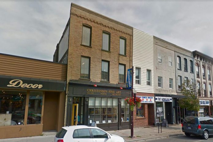 Lori and Peer Christensen, owners of Christensen Fine Art, are selling their three-story heritage building on George Street in downtown Peterborough. The first floor is zoned commercial and the second and third floors are zoned residential. (Photo: Google Maps)