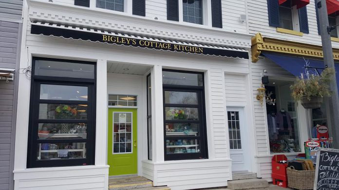 In the former location of Kawartha Coffee Co. at 49 Bolton Street in Bobcaygeon, Bigley's Cottage Kitchen is open to the adjacent Bigley's men's wear store so customers can walk through. (Photo: Jeannine Taylor / kawarthaNOW.com)