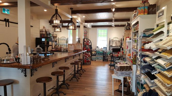 The second floor features a cafe and is space for special events, food sampling, and shopping nights.  (Photo: Jeannine Taylor / kawarthaNOW.com)