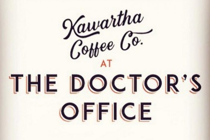 The new logo of Kawartha Coffee Co. at The Doctor's Office, designed by Douglas + Son of Bobcaygeon.