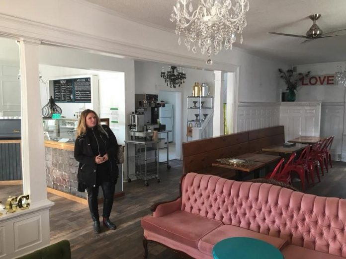 Kawartha Coffee Co. owner Kathleen Seymour examines redesign work in progress at Kawartha Coffee Co.'s new location at The Doctor's Office at 58 Bolton Street in Bobcaygeon. (Photo: Kawartha Coffee Co.)