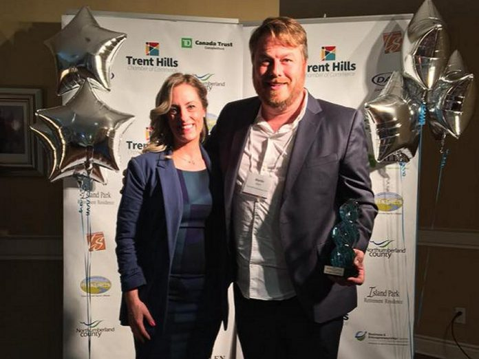 Martin Albert, cofounder of saffron producer True Saffron of Warkworth, receiving the 2018 Business of the Year Award from the Trent Hills Chamber of Commerce. (Photo: Trent Hills Chamber of Commerce / Facebook)