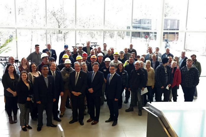 Peterborough MPP Jeff Leal announced close to $13 million in infrastructure and research funding during a visit to Fleming College on April 4, 2018. (Photo: Fleming College)