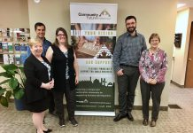 Located in downtown Peterborough, Community Futures Peterborough provides flexible financing options and a wide variety of services to help businesses thrive. Governed by a volunteer board of directors, the not-for-profit organization's staff include (from left to right): Executive Director Gail Moorhouse, Entrepreneurial Training Program Coordinator Siam Grobler, Office Administrator Michelle Foster, Business and Loans Officer Ryan Plumpton, and Program Administrator Pat Peeling. (Photo: Tammy Thorne / kawarthaNOW.com)