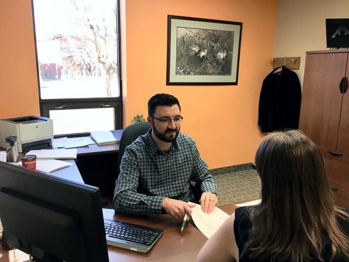 "Ryan Plumpton, Business and Loans Officer at Community Futures Peterborough. ""Where a lot of other financial institutions are really set in stone as to what they can and cannot do, we are really able to look at things in a different way."" (Photo: Tammy Thorne / kawarthaNOW.com)"