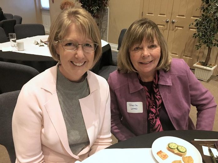 "A sold-out crowd of around 80 women attended the non-partisan ""Cultivating Change: Engaging Women In Political Action"" event held April 26, 2018 at the Ashburnham Reception Centre, including Kim Zippel (left), who has announced her intention to run as a municipal election candidate in Otonabee Ward, and Sheila Wood, who is eyeing a run in Ashburnham Ward.  (Photo: Paul Rellinger / kawarthaNOW.com)"