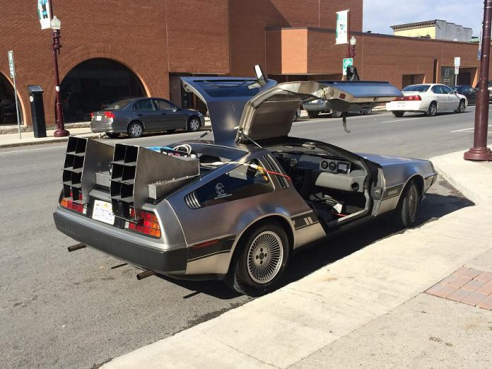 "Desmond Vandenberg, new owner of The Black Horse Pub, brought his 1981 DeLorean sports car (one of approximately 6,000 believed to exist) to Galaxy Cinemas in 2015 (where his son was working at the time) to help promote a ""Back to the Future"" movie  marathon. (Photo:  Desmond Vandenberg / Facebook)"
