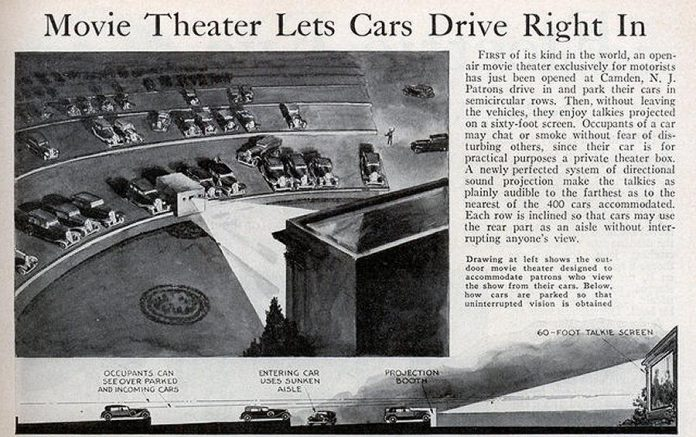 Invented by Richard Hollingshead of Camden, New Jersey, the first drive-in theatre opened in 1933.