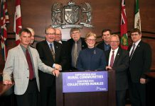 On April 23, 2018 in Belleville, Peterborough MPP Jeff Leal, Minister Responsible for Small Business and Minister of Agriculture, Food and Rural Affairs, announced a $71 million contribution from the Province of Ontario to an initiative proposed by the Eastern Ontario Regional Network, a non-profit organization created by the Eastern Ontario Wardens' Caucus, to to fill gaps in celluar coverage in eastern Ontario. Also pictured are Peterborough County Warden Joe Taylor, Frontenac County Warden Ron Higgins, Lanark County Warden and Eastern Ontario Leaderswhip Council Chairman John Fenick, EORN Chairman J. Murray Jones, Eastern Ontario Wardens' Caucus Chairwoman Robin Jones, Northumberland County Warden Mark Loveshin, Prince Edward County Mayor Robert Quaiff, and Hastings County Warden Rodney Cooney. (Photo courtesy of Peterborough County)