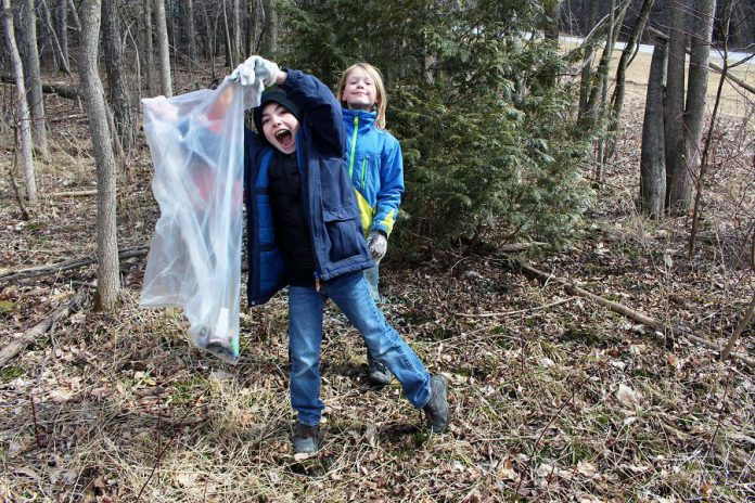 Students who participated in the April 5th clean up are hoping to be an example to other users of Armour Hill to dispose of litter properly and respect the local environment.(Photo courtesy of GreenUP)