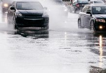 Cars in heavy rain