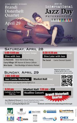 International Jazz Day Peterborough events takes place on April 28 and 29, 2018. (Poster: International Jazz Day Peterborough)