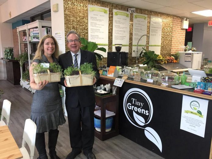 Peterborough MPP Jeaf Leal dropped in for a tour of Tiny Greens in downtown Peterborough on April 18, 2018 after announcing up to $430,000 in downtown revitalization funding for the City of Peterborough and municipalities within Peterborough County. As well as using the funding to improve downtown streets, municipalities can also fund local downtown businesses to install storefront lighting or new signage. (Photo: Tiny Greens / Twitter)