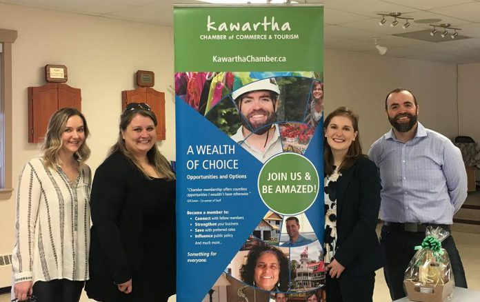 Young professionals Lisa Besseling of Stony Lake Furniture Co, Erin McLean of McLean Berry Farm, and Matt Logan of Logan Tree Experts, with moderator Julia Wood of Peterborough & the Kawarthas Economic Development (second from right), at the  March 20th BOSS seminar.
