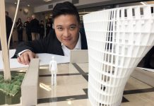 Peterborough legal firm LLF Lawyers is sponsoring the new public square beside the Peterborough Public Library in the amount of $100,000, including $20,000 for the acquisition and installation of a new public art piece. Here Toronto architect Patrick Li poses with a model of his design that was chosen for the public square. LLF Lawyers is asking for the public to vote for one of seven selected names for the new public square. (Photo: Paul Rellinger / kawarthaNOW.com)