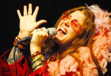 """Musician and actor Lindsay Barr performs the hits of Janis Joplin and recreates key moments in iconic 1960s singer's tragic life in """"A Musical Journey with Janis Joplin"""" at Peterborough's Market Hall on April 13, 2018. She will then take on the role of Captain Hook in the St. James Players production of """"eter Pan: A Musical Adventure"""" from April 27 to 29, 2018. (Photo: Denis Goggin)"""