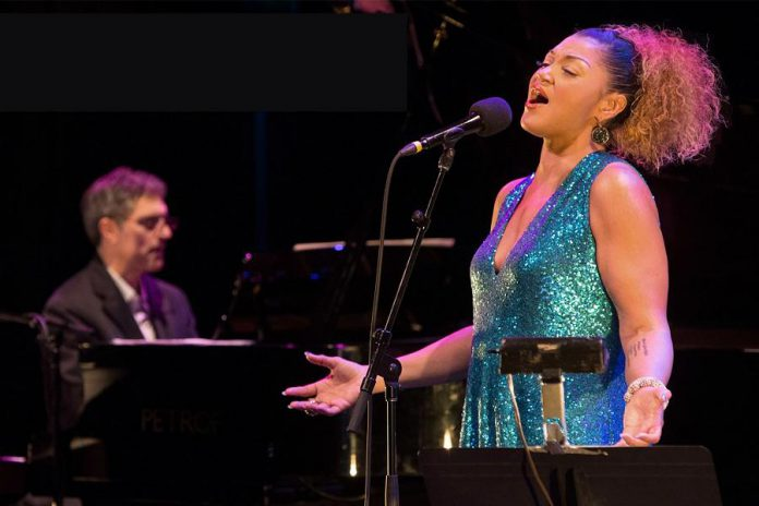 """Opera singer Measha Brueggergosman, accompanied by her band and the Powerhouse Fellowship Soul Choir, will sing a selection of her """"Songs of Freedom"""" African-American spirituals at Showplace Performance Centre on Saturday, April 28, 2018. The event includes an optional VIP reception hosted by Peterborough Symphony Orchestra Music Director and Conductor Michael Newnham. (Photo: Rhombus Media)"""