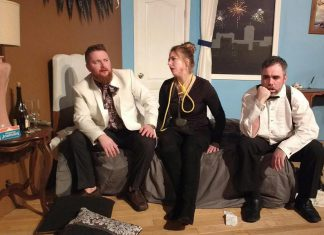 "Ben Whyte as Mitchell, Holly English as Arlene, and Seamus McCann as Paul in the black comedy ""Murder at the Howard Johnson's"", running April 20 and 21 and April 27 and 28 at Lindsay Little Theatre. (Photo: Sam Tweedle / kawarthaNOW.com)"