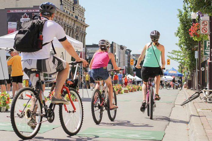 The inaugural Peterborough Pulse, Peterborough's Open Streets event, in 2015. A popular summer event, Pulse returns to downtown Peterborough in 2018 on Saturday, July 31st. (Photo: Linda McIlwain / kawarthaNOW.com)