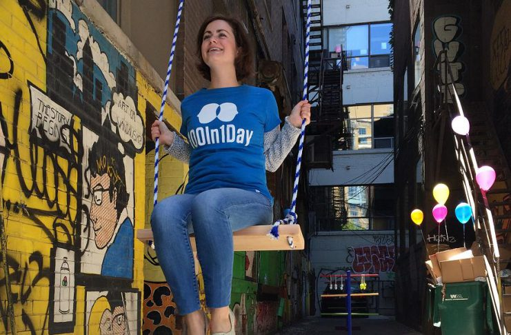 In 2017, 100in1Day Toronto set up a swing, games, balloons, bubbles, and other activities in an alleyway to animate the space in a positive, fun, and playful way. This year, Peterborough will be one of 13 Canadian cities participating in 100in1Day on June 2nd, 2018. The possibilities of your local event are limited only by your imagination. (Photo: Nicole Bruun-Myyer / 100in1Day Toronto)