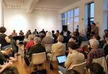 It was a full house at Artspace on May 11, 2018 for ArtsVote 2018, a discussion on the arts featuring four of the candidates vying to become the next MPP for Peterborough-Kawartha. (Photo: Amy Bowen / kawarthaNOW.com)
