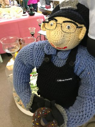 "Another turtle has been kidnapped by the ""Squirrels for a Safer Tomorrow"" gang. Officer Paddy has come out of retirement to help solve the case. (Photo courtesy of Knittervention)"