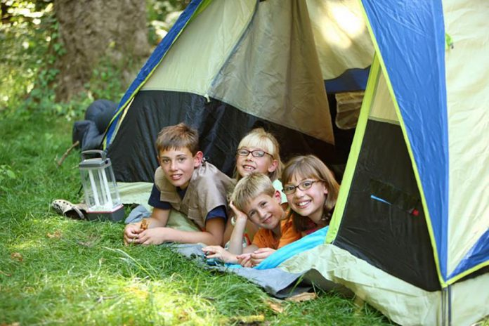 Kids enjoying camping at Beavermead Campground in Peterborough. (Photo courtesy of Otonabee Conservation)