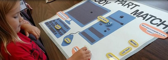 An example of a screen-free activity for kids offered at iMake iMove camps: matching computer parts with their names on a magnetic poster. (Photo courtesy of iMake iMove)