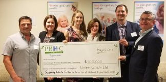On May 15, 2018, Unimin Canada Ltd. donated $100,000 to the Peterborough Regional Health Centre Foundation in support of the hospital's regional cancer care programs. Pictured from left to right: Mike Bouchard of Unimin Canada Ltd; Lesley Heighway, President & CEO of PRHC Foundation; Charlotte Forster of Unimin Canada Ltd; Dr. Nancy Martin-Ronson, PRHC Vice President, Chief Nursing Executive, and Chief Information Officer; Alex Vanags of Unimin Canada Ltd; and Shane McShane of, Unimin Canada Ltd. (Photo courtesy of PRHC Foundation)