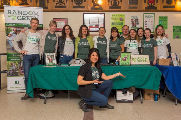 Jessica Correa (front), founder of social enterprise Random Acts of Green, with her team. Random Acts of Green is developing a new mobile app to encourage people to choose greener behaviours. A free community discussion on the new app will take place on May 10, 2018 at Lett Architects in downtown Peterborough. (Photo: Random Acts of Green)