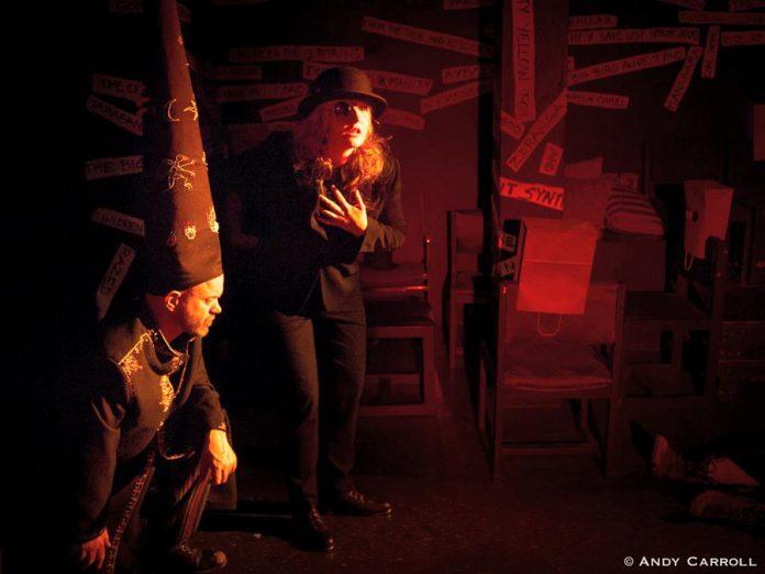 Dan Smith as Mr. Antipyrine and Laura Thompson as Tristan Tzara.  (Photo: Andy Carroll)